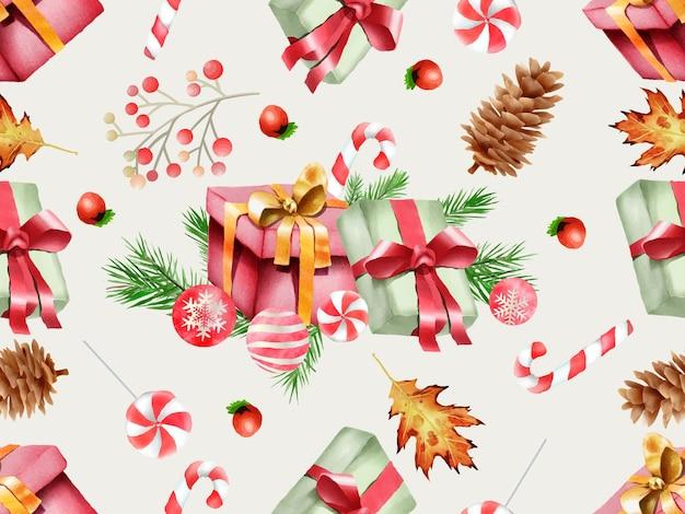 Bellissimo motivo senza cuciture con ornamenti floreali e natalizi