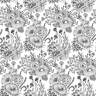 Bellissimo motivo senza cuciture con motivo floreale fantasia floreale disegnato a mano, fiori, piante, rami. sfondo vettoriale infinito in bianco e nero.