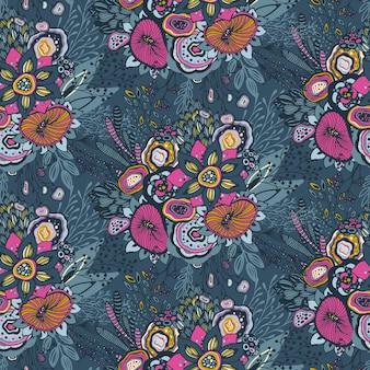 Bellissimo motivo senza cuciture con motivo floreale fantasia floreale disegnato a mano, fiori, piante, rami. sfondo vettoriale infinito colorato.