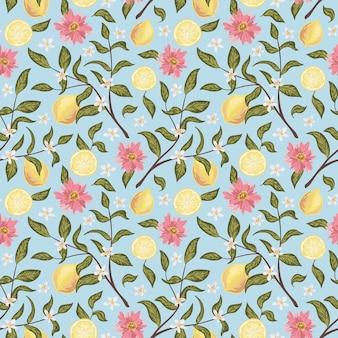Bellissimo motivo senza cuciture con limone, fiori e ramo. illustrazione vettoriale disegnato a mano colorato. texture per stampa, tessuto, tessuto, carta da parati.
