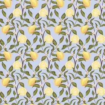 Bellissimo motivo senza cuciture con limoni, fiori e rami. illustrazione vettoriale disegnato a mano colorato. texture per stampa, tessuto, tessuto, carta da parati.