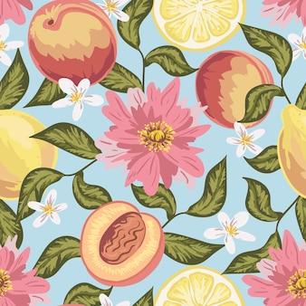 Bello modello senza cuciture con pesca, limone, fiori e foglie. disegnato a mano colorato