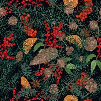 Bellissimo modello senza cuciture con decorazioni natalizie naturali realistiche o parti di piante invernali