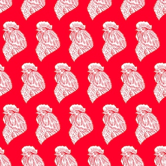 Bellissimo sfondo rosso senza soluzione di continuità di un simbolo del 2017 - un gallo. illustrazione disegnata a mano