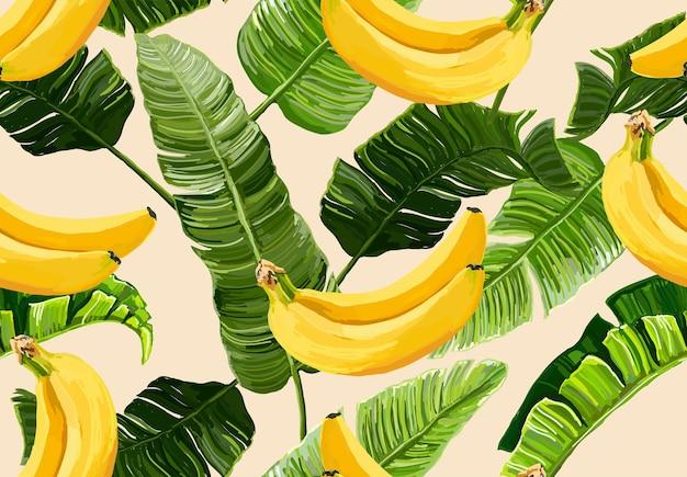 Bellissimo motivo estivo floreale vettoriale senza soluzione di continuità con foglie di banana e banane