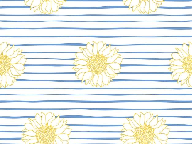 Bellissimo modello vettoriale senza soluzione di continuità di girasoli su un blu a strisce e bianco. motivo floreale senza soluzione di continuità. striscia marina