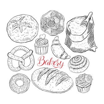 Bellissimo set di prodotti da forno. illustrazione disegnata a mano