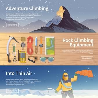Bellissimo set di banner web piatto sul tema dell'arrampicata