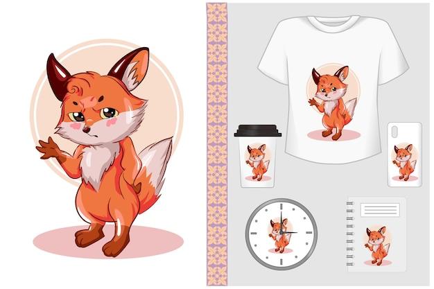Illustrazione divertente del fumetto della bella volpe dell'insieme