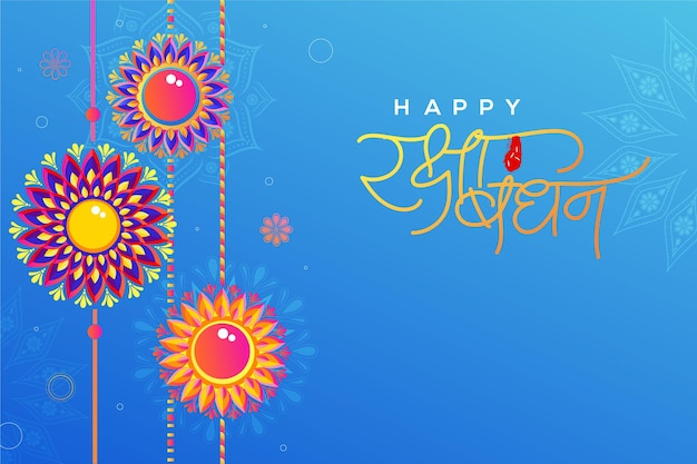 Bellissimo set di rakhi sullo sfondo floreale blu per il festival raksha bandhan celebrato in india