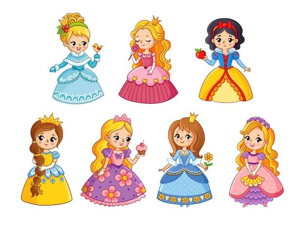 Bellissimo set con principesse dei cartoni animati illustrazione vettoriale con ragazze in abiti colorati