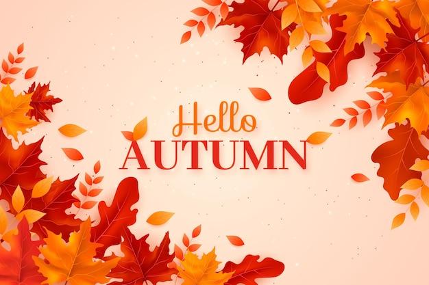 Belle tonalità di sfondo realistico di foglie d'autunno
