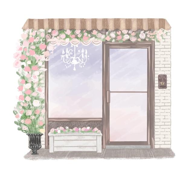 Bellissimo negozio esterno decorato con fiori disegnati a mano illustrazione Vettore Premium