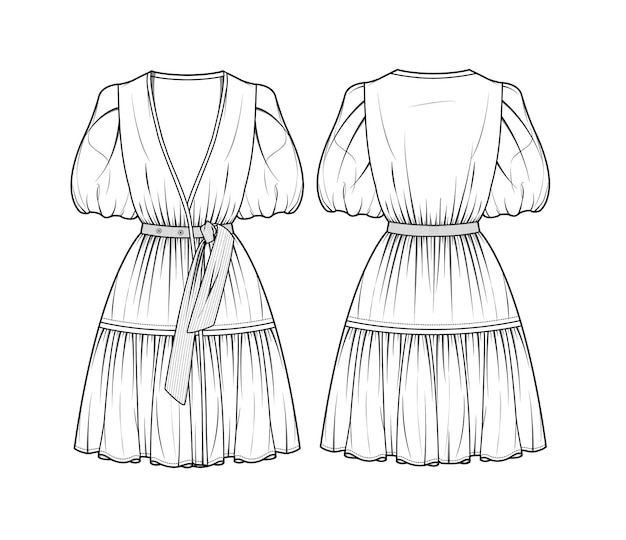 Bellissimo modello di schizzo di abito corto