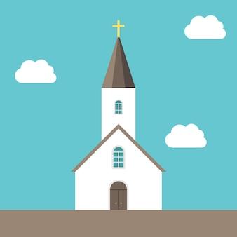 Bella piccola chiesa cristiana bianca sul fondo del cielo blu con le nuvole. concetto di religione, fede, dio e cristianesimo. illustrazione vettoriale eps 8, nessuna trasparenza