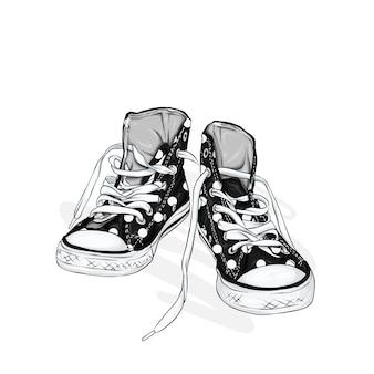 Belle scarpe da ginnastica. illustrazione per una foto o un poster. scarpe della gioventù. sport, corsa e camminata.