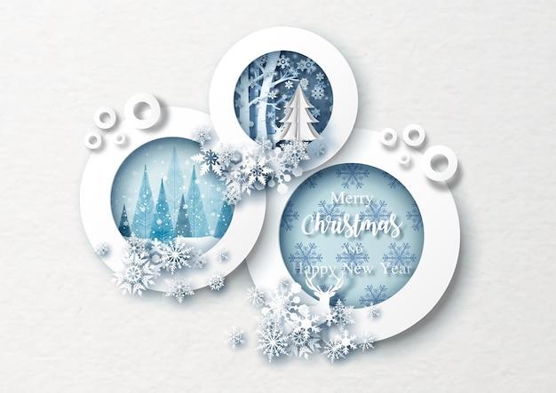 Bellissimi fiocchi di neve decorati su cerchi cornice di natale e carta bianca sullo sfondo del modello. biglietto di auguri di natale in stile taglio carta e disegno vettoriale.