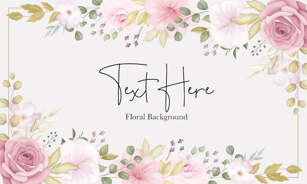 Bellissimo sfondo floreale morbido con fiori rosa polverosi Vettore Premium