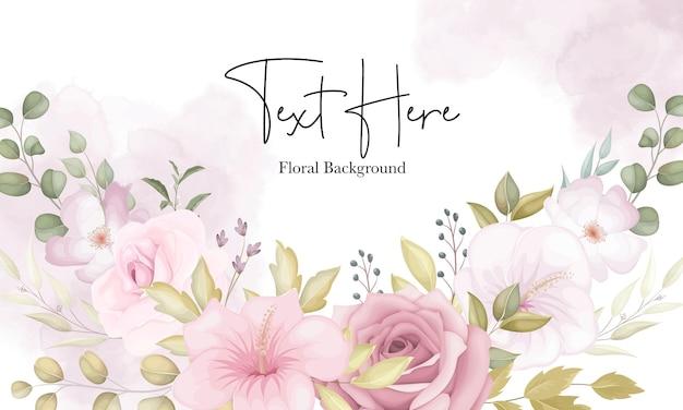 Bellissimo sfondo floreale morbido con fiori rosa polverosi