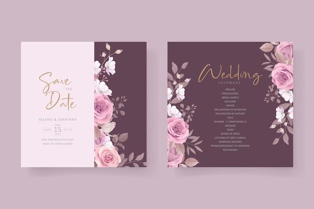 Bellissimo design floreale morbido e foglie di invito a nozze