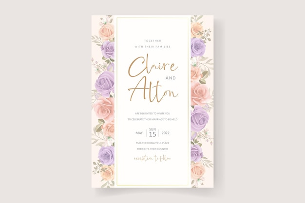 Bellissimo design morbido floreale e foglie di invito a nozze