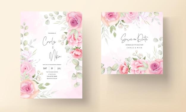 Carta di invito matrimonio bellissimo fiore morbido