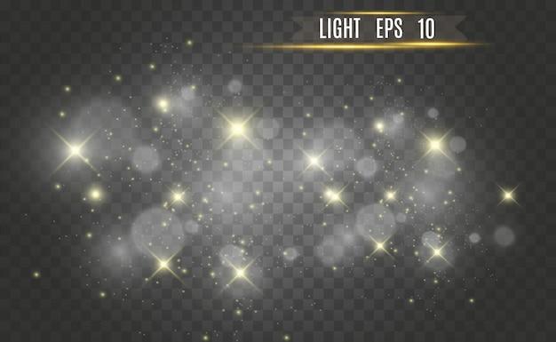 Belle scintille brillano di luce speciale. scintillii vettoriali