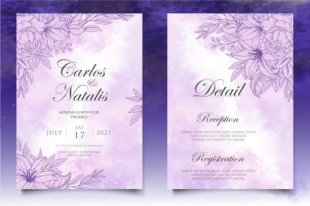 Bella spruzzata e modello di carta di nozze floreale lineart
