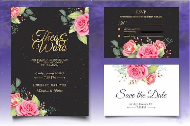 Bella spruzzata e modello floreale della carta di nozze dell'acquerello
