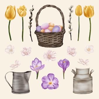 Bellissimi fiori primaverili con salice e cesto con le uova