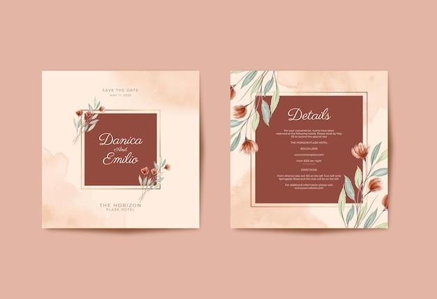 Partecipazione di nozze bella piazza con acquerello fiore