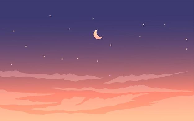 Bellissimo cielo notturno stellato con nuvole e falce di luna