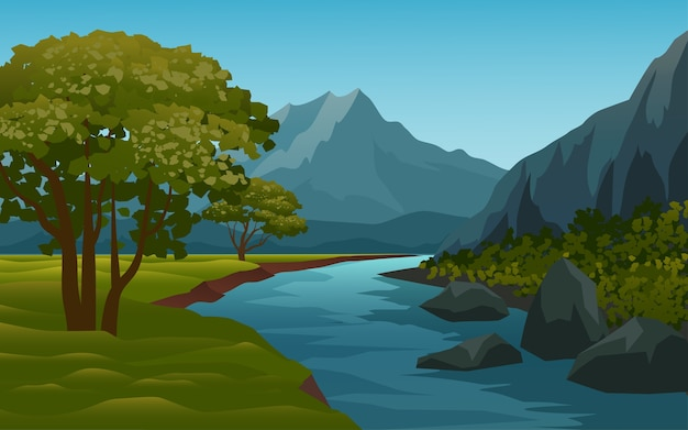 Bellissimo ruscello e paesaggio montano