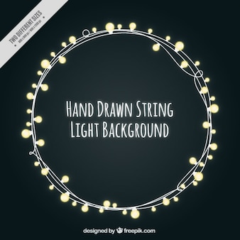 Belle luci stringa su sfondo nero