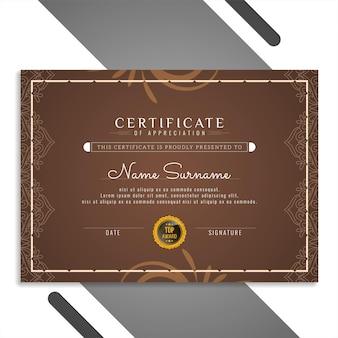 Bellissimo ed elegante modello di design del certificato vettoriale