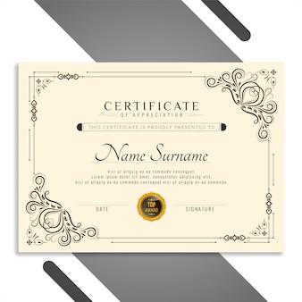 Bellissimo modello di certificato elegante
