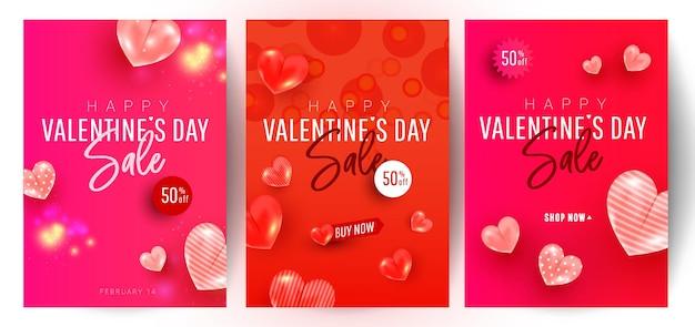 Il bello disegno alla moda del fondo di vendita di giorno di biglietti di s. valentino ha messo con la decorazione di forme di amore dell'aria su fondo rosso con il testo di saluto. modello di promozione e acquisto