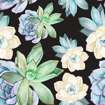 Bellissimo motivo ad acquerello di fiori succulenti senza cuciture