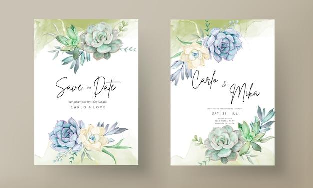 Bellissimo set di biglietti d'invito per matrimonio ad acquerello con fiori succulenti