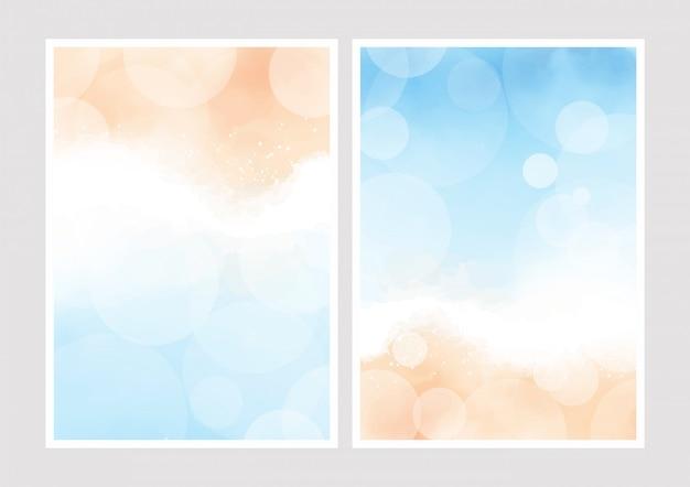 La bella spiaggia dell'estate e l'oceano blu osservano dall'alto l'acquerello con il fondo del bokeh per la raccolta della carta 5x7 dell'invito di nozze