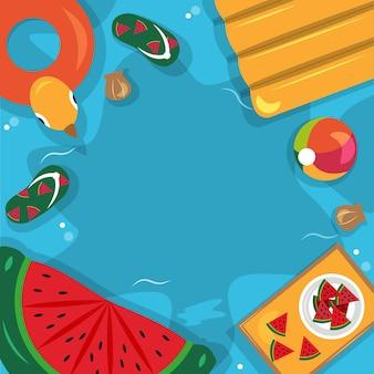 Bella estate spiaggia mare piscina vacanza vista dall'alto sfondo illustrazione