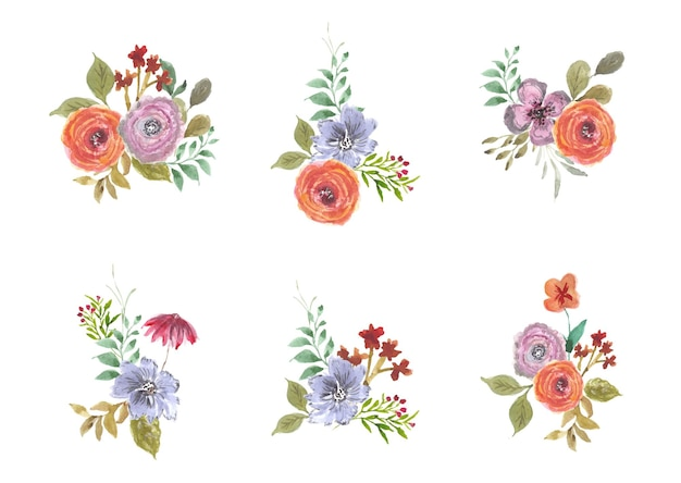 Bellissima collezione di acquerelli con bouquet floreale estivo
