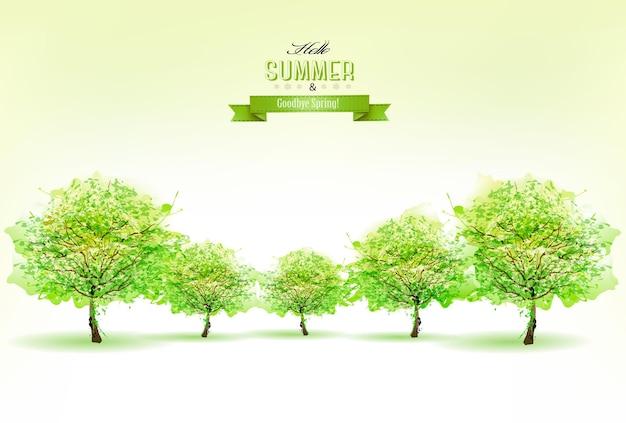 Priorità bassa della natura bella estate con alberi verdi. vettore.