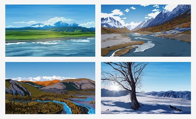 Bellissimi paesaggi estivi e invernali con un cielo azzurro, fiumi, alberi, foreste, montagne, nuvole e cime innevate sullo sfondo. sfondi paesaggistici per le tue arti.