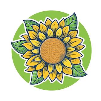 Bella illustrazione di girasole. concetto di marchio del girasole. logo della mascotte della fioritura del girasole. stile cartone animato piatto.