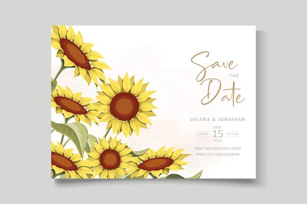 Bellissimo modello di biglietto d'invito per matrimonio girasole