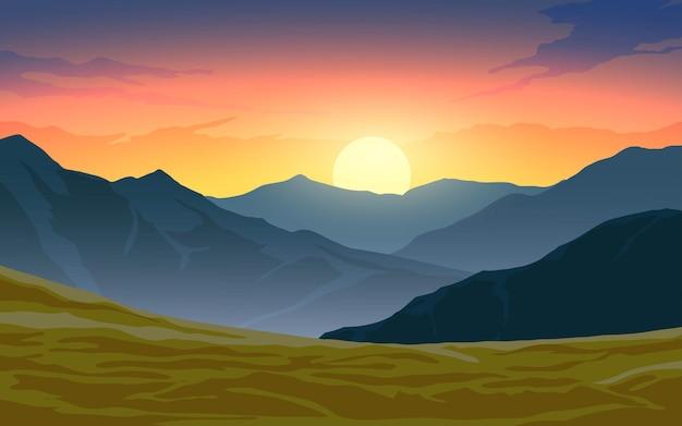 Bellissimo paesaggio al tramonto con cielo colorato di montagna