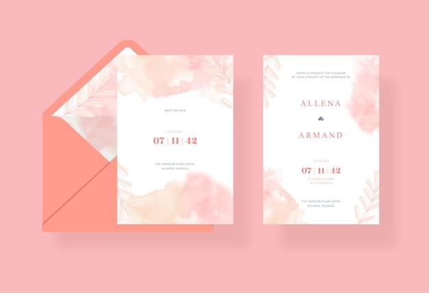 Bellissimo e dolce modello di carta di matrimonio ad acquerello