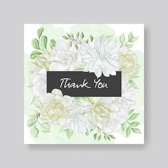 Bellissimo biglietto di ringraziamento con fiori ad acquerelli