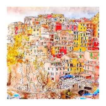 Bella città di manarola italia schizzo ad acquerello disegnato a mano illustrazione